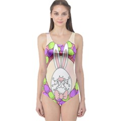 Make An Easter Egg Wreath Rabbit Face Cute Pink White One Piece Swimsuit