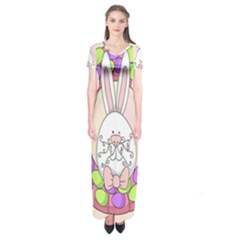 Make An Easter Egg Wreath Rabbit Face Cute Pink White Short Sleeve Maxi Dress