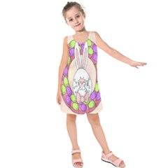 Make An Easter Egg Wreath Rabbit Face Cute Pink White Kids  Sleeveless Dress