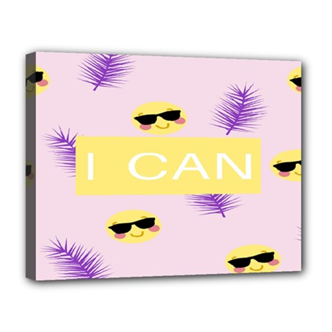 I Can Purple Face Smile Mask Tree Yellow Canvas 14  x 11