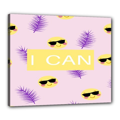I Can Purple Face Smile Mask Tree Yellow Canvas 24  x 20