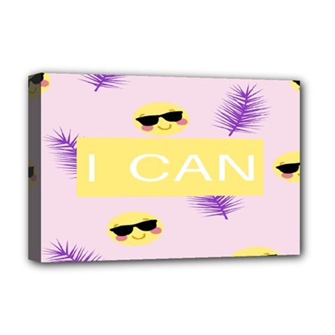 I Can Purple Face Smile Mask Tree Yellow Deluxe Canvas 18  x 12
