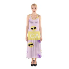 I Can Purple Face Smile Mask Tree Yellow Sleeveless Maxi Dress