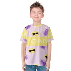 I Can Purple Face Smile Mask Tree Yellow Kids  Cotton Tee