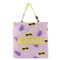 I Can Purple Face Smile Mask Tree Yellow Grocery Tote Bag