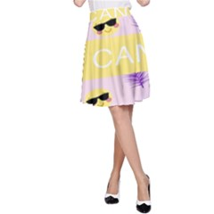 I Can Purple Face Smile Mask Tree Yellow A-Line Skirt