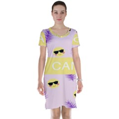 I Can Purple Face Smile Mask Tree Yellow Short Sleeve Nightdress