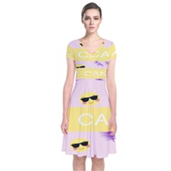 I Can Purple Face Smile Mask Tree Yellow Short Sleeve Front Wrap Dress