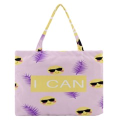 I Can Purple Face Smile Mask Tree Yellow Medium Zipper Tote Bag