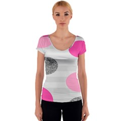Polkadot Circle Round Line Red Pink Grey Diamond Women s V-Neck Cap Sleeve Top