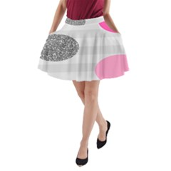 Polkadot Circle Round Line Red Pink Grey Diamond A-Line Pocket Skirt