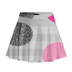 Polkadot Circle Round Line Red Pink Grey Diamond Mini Flare Skirt
