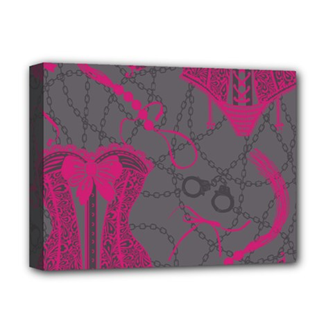 Pink Black Handcuffs Key Iron Love Grey Mask Sexy Deluxe Canvas 16  x 12