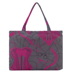 Pink Black Handcuffs Key Iron Love Grey Mask Sexy Medium Zipper Tote Bag