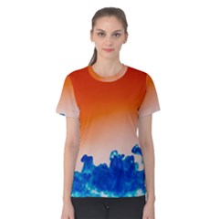 Simulate Weather Fronts Smoke Blue Orange Women s Cotton Tee