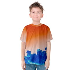 Simulate Weather Fronts Smoke Blue Orange Kids  Cotton Tee