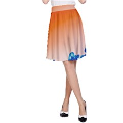 Simulate Weather Fronts Smoke Blue Orange A-Line Skirt