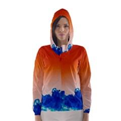 Simulate Weather Fronts Smoke Blue Orange Hooded Wind Breaker (Women)