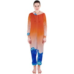 Simulate Weather Fronts Smoke Blue Orange Hooded Jumpsuit (Ladies)