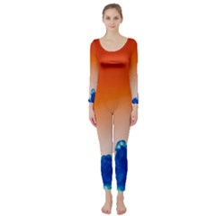 Simulate Weather Fronts Smoke Blue Orange Long Sleeve Catsuit