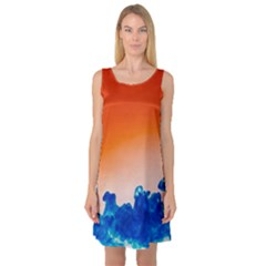 Simulate Weather Fronts Smoke Blue Orange Sleeveless Satin Nightdress