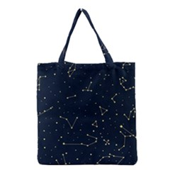 Star Zodiak Space Circle Sky Line Light Blue Yellow Grocery Tote Bag
