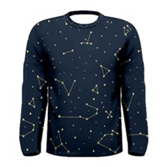 Star Zodiak Space Circle Sky Line Light Blue Yellow Men s Long Sleeve Tee