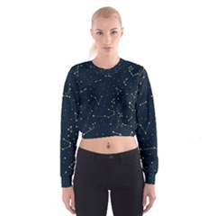 Star Zodiak Space Circle Sky Line Light Blue Yellow Cropped Sweatshirt
