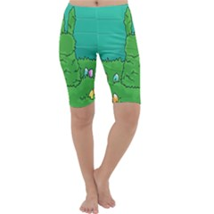 Rabbit Easter Green Blue Egg Cropped Leggings