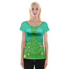 Rabbit Easter Green Blue Egg Women s Cap Sleeve Top
