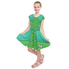 Rabbit Easter Green Blue Egg Kids  Short Sleeve Dress
