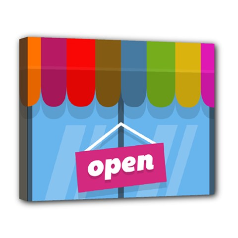 Store Open Color Rainbow Glass Orange Red Blue Brown Green Pink Deluxe Canvas 20  x 16