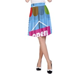 Store Open Color Rainbow Glass Orange Red Blue Brown Green Pink A-Line Skirt