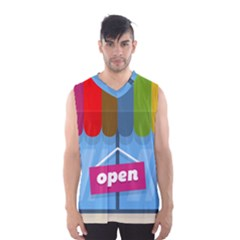 Store Open Color Rainbow Glass Orange Red Blue Brown Green Pink Men s Basketball Tank Top