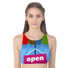 Store Open Color Rainbow Glass Orange Red Blue Brown Green Pink Tank Bikini Top