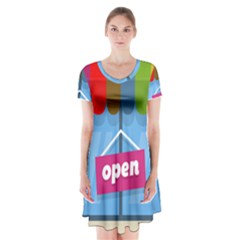 Store Open Color Rainbow Glass Orange Red Blue Brown Green Pink Short Sleeve V-neck Flare Dress