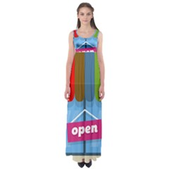 Store Open Color Rainbow Glass Orange Red Blue Brown Green Pink Empire Waist Maxi Dress
