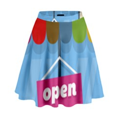 Store Open Color Rainbow Glass Orange Red Blue Brown Green Pink High Waist Skirt