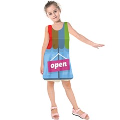Store Open Color Rainbow Glass Orange Red Blue Brown Green Pink Kids  Sleeveless Dress