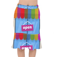 Store Open Color Rainbow Glass Orange Red Blue Brown Green Pink Mermaid Skirt