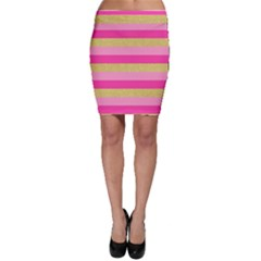 Pink Line Gold Red Horizontal Bodycon Skirt