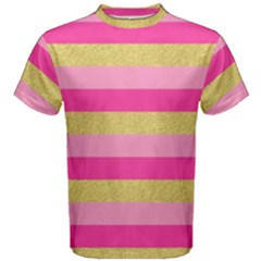 Pink Line Gold Red Horizontal Men s Cotton Tee
