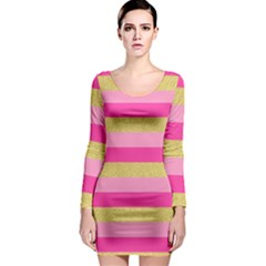 Pink Line Gold Red Horizontal Long Sleeve Bodycon Dress