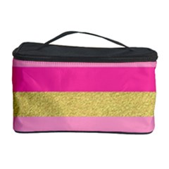 Pink Line Gold Red Horizontal Cosmetic Storage Case