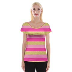 Pink Line Gold Red Horizontal Women s Cap Sleeve Top
