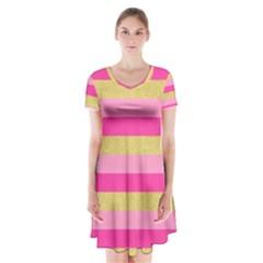 Pink Line Gold Red Horizontal Short Sleeve V-neck Flare Dress
