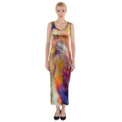 Rainbow Color Splash Fitted Maxi Dress