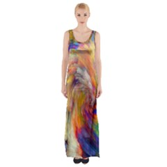 Rainbow Color Splash Maxi Thigh Split Dress