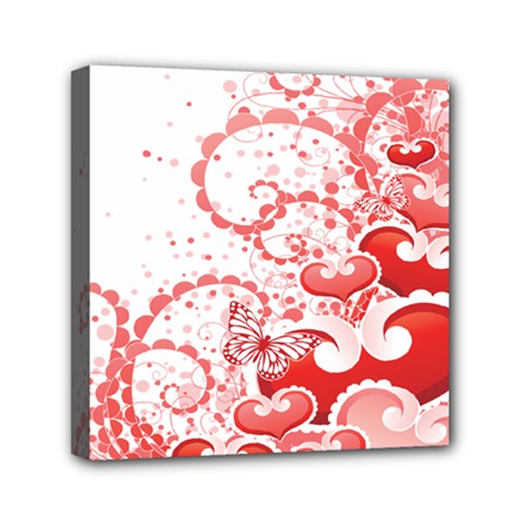 Love Heart Butterfly Pink Leaf Flower Mini Canvas 6  x 6