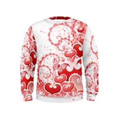 Love Heart Butterfly Pink Leaf Flower Kids  Sweatshirt